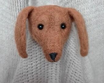 Brooch puppy dog -  artist brooch,  miniature brooch,  needle felt brooch, Blythe, art brooch