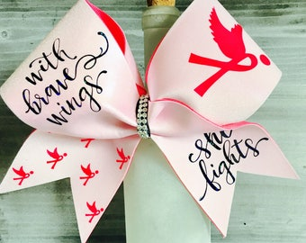 Awareness Cheer Bow Breast Cancer Bow Pink October