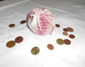 coin purse is pink crochet
