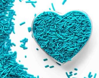 Teal Blue Crunchy Jimmies™, crunchy sprinkles, skinny sprinkles, sugar strands, Canadian Sprinkles, teal sprinkles, Fancy Sprinkles