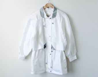 90s izzi Windbreaker - Vintage Windbreaker - 90s Windbreaker - White Windbreaker - 90s Jacket - Vintage Jacket - izzi Jacket - Women's M