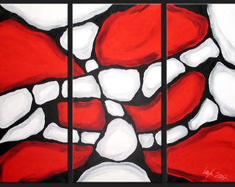 Abstract art XXL red black white large handpainted orginal unique exclusive modern canvas painting