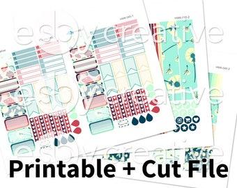 Handdrawn Mushrooms + Fairies (Blue + Red) - Erin Condren Horizontal Weekly Sticker Kit Printable - HWK-045 - INSTANT DOWNLOAD
