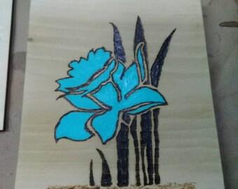 Blue Daffodil in water.