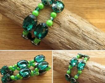 French design and rhinestone Assemblage bracelet