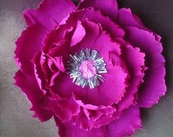 Huge pink paper peony, large paper flower, dark pink peony, wedding backdrop, paper flower wall, Home decor, giant bloom, party decoration