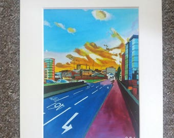 "Limited edition print - Derek Dooley Way, Sheffield ring road - A3, A4 or 7"" x 5"" Print of an Original Painting by Bryan John"