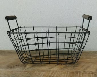 "Metal Wire Bread Basket, Rectangle 10"""