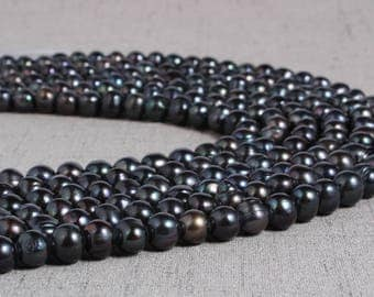 8 - 9 mm black round freshwater pearls,2.5mm large hole,black round pearl,full strand,round pearl strands,pearl wholesale