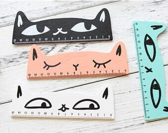 Cat Wood Ruler 15cm Length