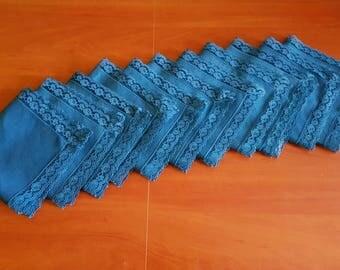 Vintage set of eleven square serviettes / table-napkins / doilies, home decoration