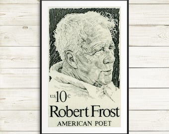 gifts for readers, book gifts, library posters, book posters, Robert Frost, American Poet, Literature, book posters, Robert Frost poster