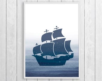 Sailboat Art, Boy Nursery Ideas, Navy Blue Wall Print, Sailboat Artwork, Kids Bathroom Art, Nautical Wall Poster, Kids Wall Art Ideas