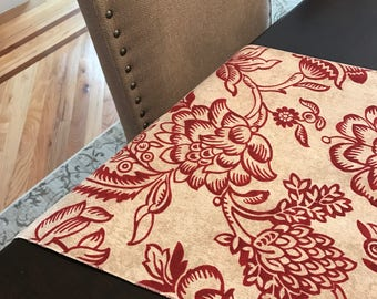 Summer Tablecloth | Red Rust Beige Cream Tan Floral Flowers | Easter | Spring