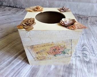 Shabby vintage wooden tissue box