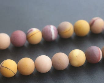6mm, 8mm ,10mm, 12mm Matte Mookaite Jasper Beads,Smooth and Round Gemstone Beads.15 Inches One Strand