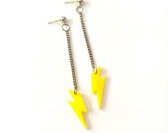 Lightening Bolt Dangle Earrings