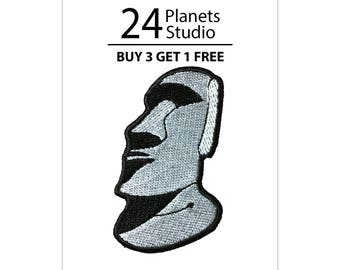 Moai Gray Iron on Patch by 24PlanetsStudio