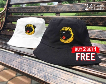 Pug Dog Embroidered Bucket Hat by 24PlanetsStudio Pocket  Tumblr Instagram Fashion