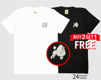 Poodle Dog Embroidered T-Shirt by 24PlanetsStudio