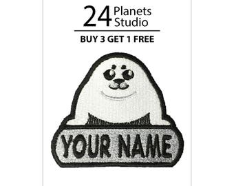 "Harp Seal Pup ""Your Name"" Iron on Patch by 24PlanetsStudio Your Text Custom Made DIY"