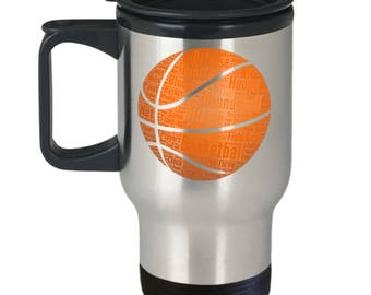BASKETBALL TRAVEL MUG! Basketball Season!! Are You Ready For Some Round ball? Hoops?? Insulated Stainless Steel Travel Coffee Mug With Lid