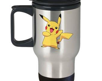 Travel Mug Pikachu Pokemon Fan Favorite Happy Electric Rat Word Cloud on Insulated Stainless Steel Travel Coffee Mug With Lid