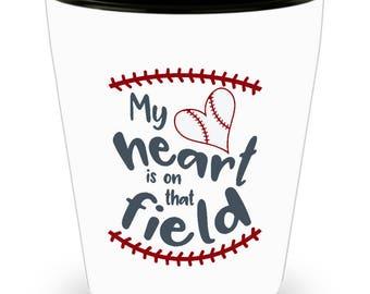 Baseball Fan Shot Glass Sports Fanatic Player Parent Coach Catch Pitcher Batter Shotglass Gift Mom Dad Son Daughter