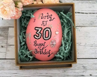 30th birthday gifts for her- 30th birthday keepsakes-30th celebration stone-30th pink birthday gifts for women-flirty at 30 gifts.