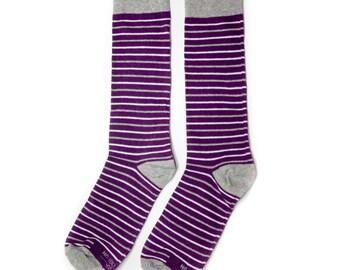 Groomsmen Socks | Purple & Grey Striped Socks | Wedding Day Socks | Groomsmen Gifts | Groomsmen Proposal Idea | Men's Socks | Colorful Socks