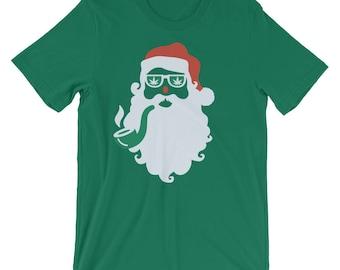 Santa Smokes Christmas Cannabis Marijuana Tee Shirt Unisex T-Shirt
