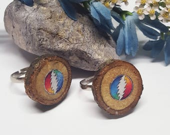 Grateful Dead Ring/Steal Your Face/Grateful Dead Jewelry/Slice Ring/Grateful Dead Stealie/Dead Heads/Grateful Dead Gift/Festival Jewelry