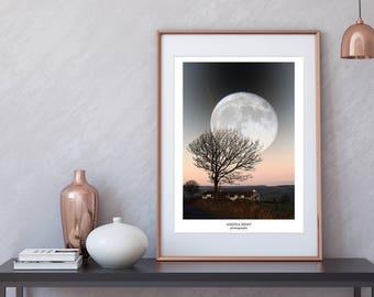Supermoon, Lancashire UK photo print