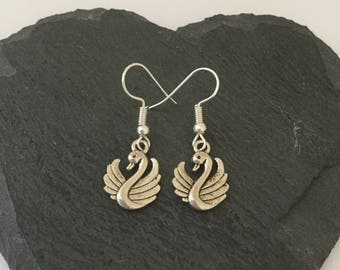 Swan earrings / swan jewellery / bird jewellery / animal earrings / animal jewellery / animal lover gift