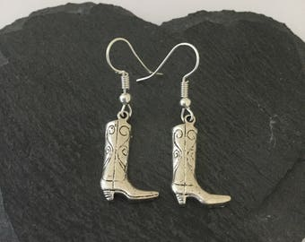 Cowboy boot earrings / cowboy jewellery / country and western jewellery / cowgirl earrings