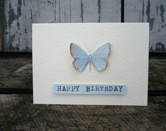 Greetings card with butterfly, happy birthday card, birthday card, card with butterfly, greetings card with butterfly, vintage inspired card