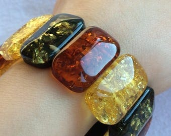Bracelet made from the plates piece Baltic amber.