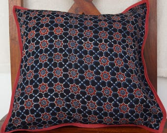 Punjab 34 series: Cover cushion 40x40cm (16 x 16), cotton Indian traditional motifs, ochre, red, black, blue colors.
