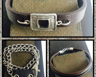 Black and brown leather cord bracelet