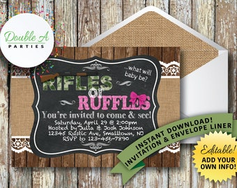 Gender Reveal Invitation - Rifles or Ruffles party invitation, Rustic party invitation,Self Editable Invitation, Instant Download
