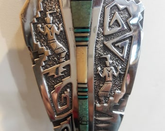Authentic Native American Navajo Handmade Sterling Silver Turquoise Inlaid Bolo Tie