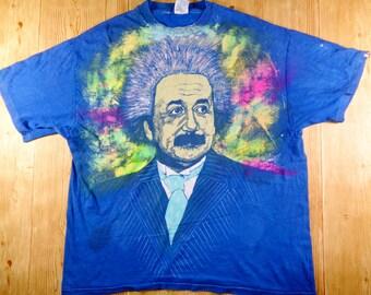 Vintage 90's Albert Einstein Tie Dye Big Logo Rare Shirt By Hanes