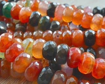 Faceted Agate Beads, Agate Rondelle Beads, Faceted Gemstone Beads, Multi Coloured Faceted Dragons Vein Agate , 11mm x 7mm, Pack of 10 Beads