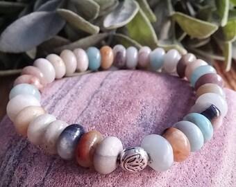 Women's bracelet, ethnic jewelry, amazonite, stackable bracelet, lotus flower, yoga gift, yoga bracelet, yoga style, bohemian jewelry, Gypsy