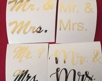 Mr & Mrs Vinyl Decal, Wedding Decal, Wedding, Decal, Wedding Sign
