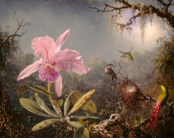 Martin Johnson Heade : Cattleya Orchid and Three Hummingbirds (1871) Canvas Gallery Wrapped Wall Art Print
