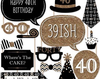 20PCS 40th Birthday Photo Booth Props, Party Props, Photo Booth Props, Party Supplies, Party Decor, Party, Photo props, Baby Shower
