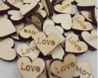 """100 PCS Large Wood Heart Confetti """"Love"""", rustic, rustic decorations, rustic wedding, wedding supplies, engagement party, party"""