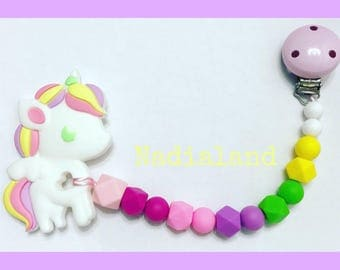 Silicone chain with toy teething unicorn/food silicone beads/Wooden Clip/teether/Baby Accessories