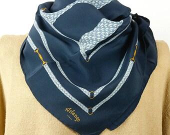 Italian vintage Blue Arfango scarf 80s Firenze Florence
